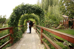 Married couple in the garden Stock Images