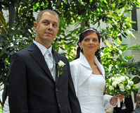 Married couple in garden Royalty Free Stock Photos