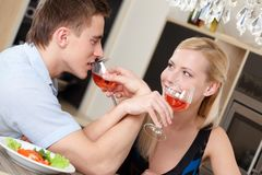 Married couple has dating supper Stock Images