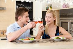 Married couple has romantic dinner Stock Photos