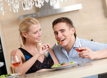 Married couple has romantic supper Royalty Free Stock Images