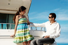 Married couple having a rest on the yacht Stock Photo