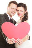 Married couple with heart sign symbol Stock Photography