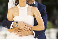 Married couple holding each other Stock Images