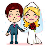 Married Couple Holding Hands royalty free illustration