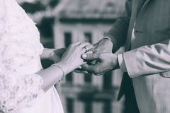 Married couple holding hands Stock Photo