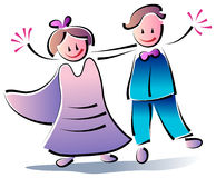 Married Couple. Illustrated funny cartoon image of newly married couple Stock Photo
