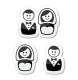 Married couple labels - groom and bride Stock Image