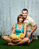 Married couple on the lawn. Young, happy married couple relaxing on the lawn and enjoys Royalty Free Stock Image