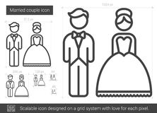 Married couple line icon. Married couple vector line icon isolated on white background. Married couple line icon for infographic, website or app. Scalable icon Royalty Free Stock Photography