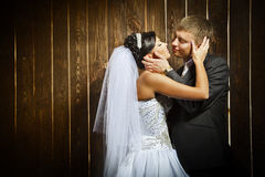 Married couple. Live newly married couple, on a wooden background Royalty Free Stock Photos