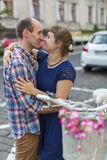 Married couple in love hug on the street. Happy. Stock Photography
