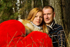 Married couple on nature in the woods Stock Image