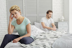 Married couple is offended at each other Stock Image
