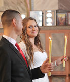 Married couple in the Orthodox Church Stock Photo