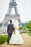 Married couple in Paris near the Eiffel tower Stock Photo