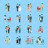 Married Couple People Life Collection on Blue. Married couple people life set on blue background. Dating pair, wedding day, couple with newborns, family spending Royalty Free Stock Photos