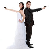 Married couple problem discord, bride groom with gun Stock Images