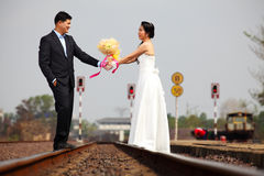 Married Couple on Railway Road Royalty Free Stock Photo