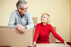 Married couple relocating house Stock Photo
