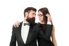 Married couple romantic date. Cuddling with darling. Tender hug. Man and woman elegant dressed ready for night out. Married couple romantic date. Cuddling with stock photos