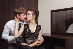 Married couple. Romantic evening. Kiss Royalty Free Stock Photo