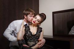 Married couple. Romantic evening. Kiss Stock Photos