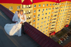 Married couple on the roof Royalty Free Stock Photo