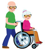 Married couple senior man and his wife in a wheelchair stock illustration