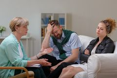 Married couple in separation. Picture of married couple in separation during therapy Stock Images