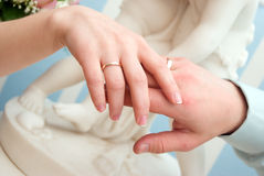 Married Couple Shows Off Rings. Royalty Free Stock Image