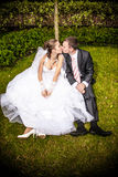 Married couple sitting on lawn under tree and kissing Stock Photo