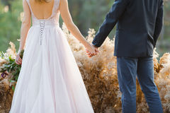 Married couple standing back and holding hands.  Royalty Free Stock Image