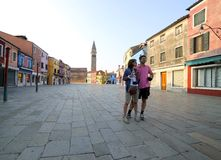 Married couple visiting the island of Burano near Venice Royalty Free Stock Photography