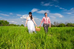 Married couple walking at field with picnic basket Royalty Free Stock Photo