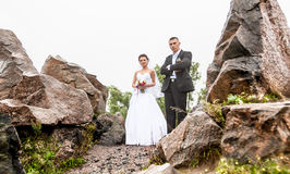 Married couple walking at mountains Royalty Free Stock Photos