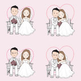 Married couple wedding cartoon, bride and groom sitting on a chair Royalty Free Stock Image