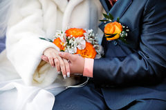 Married couple. Wedding photograph of a young couple of lovers who are just married, are close to each other in harmony, love and happiness Stock Photography
