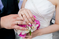 Married couple. Wedding photograph of a young couple of lovers who are just married, are close to each other in harmony, love and happiness Stock Photo