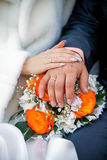 Married couple. Wedding photograph of a young couple of lovers who are just married, are close to each other in harmony, love and happiness Stock Image