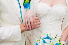 Married couple. Wedding photograph of a young couple of lovers who are just married, are close to each other in harmony, love and happiness Royalty Free Stock Image