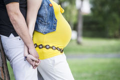 Married couple winth pregnant woman in outdoor Stock Image