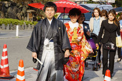Married Couple. Married Young Couple in kimono dress in Kyoto Japan Stock Images