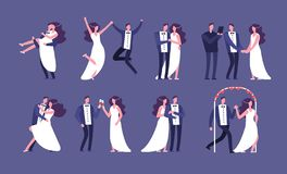 Free Married Couples. Newly Wed Bride And Groom, Wedding Celebration Cartoon Characters. Just Married Happy People Vector Set Royalty Free Stock Photo - 131376625