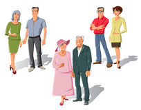 Married Couples Set. Set of isolated flat family characters with three old married couples in cartoon style with shadows vector illustration Royalty Free Stock Photo