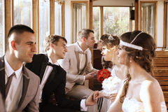 Married couples in the tram Royalty Free Stock Photo
