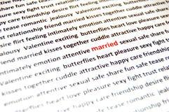 Married es todas estas palabras Imagen de archivo libre de regalías