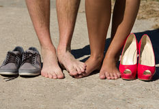 Married feet. Feet of married people (newlyweds) with their shoes Royalty Free Stock Photography