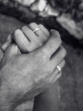 Married hands. Black and white married hands Royalty Free Stock Image