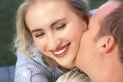 Married laughing couple Stock Photos